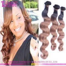 Wholesale 6A grade Color #1bT#8 beauty cheap ombre hair extension