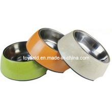 Bol de chien Bamboo Fiber Steel Ceramic Pet Bowl