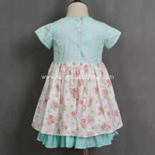 hand embroidered floral check children's boutique clothing