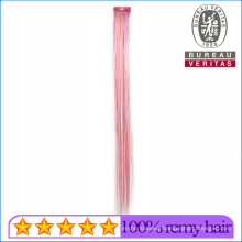 Light Pink Colordful Straight Hair 1 Piece Synthetic Clip Hair Extensions with Colorful Silks