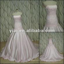 JJ2736 Späteste Kleid-Entwürfe wulstiges Satin-trägerloses rosafarbenes Brauthochzeitskleid