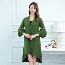 Lady Fashion Mink Cashmere Knitted Ruffle Sleeve Winter Cardigan (YKY2067)