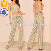 Halter Tie Neck Striped Crop Top With Tie Waist Pants Manufacture Wholesale Fashion Women Apparel (TA4062SS)