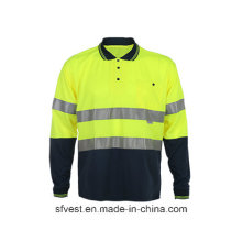 Sicherheits-Langarm-Polo-Shirt mit hoch sichtbarem reflektierendem Tape