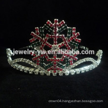 fashion metal silver plated crystal tiara snowflake headband