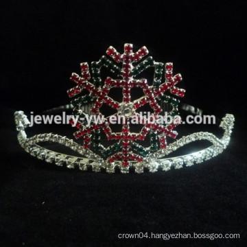 fashion metal silver plated crystal tiara snowflake headband