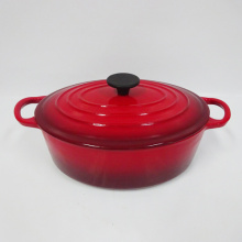 4.5Qt red oval enamel coating cast iron soup casserole/pot/cookware/kitchenware