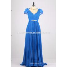 Cap manga abierta espalda largo gasa vestido de dama de honor plisados vestidos de dama de honor plisados