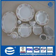 Conjunto de louça 78pcs / 121pcs, todos os tipos de placas de porcelana, pratos de cerâmica de ouro, louças de cerâmica, copos para cada dia