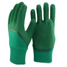 NMSAFETY forro de algodão industrial revestido de luvas de látex verde