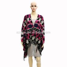 Moda mujer tribal invierno damas Jacquard poncho abrigos