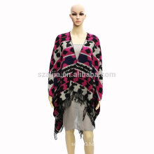 Fashion women tribal winter ladies Jacquard poncho coats