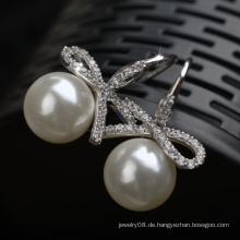 Großhandel Luxus Schmuck chinesischen Edelsteine Wert Zirkon und Perle Ohrring