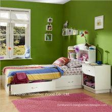 4 Piece Pure White Kids Wood Storage Bedroom Set
