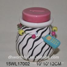 Banco de cerámica del dinero de la cebra-raya de la alta calidad para la muchacha