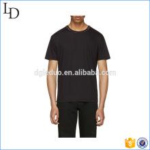 Mens mode haute qualité o cou noir 100% coton t-shirt à manches courtes