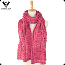 2016 New Lady′s Acrylic Cable Pattern Jacquard Scarf