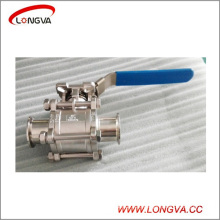 Sanitary Stainless Steel Three Piece Clamped Ball Valve with Lock Handle
