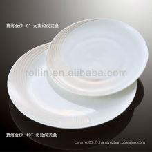 Four en porcelaine blanc durable et sain, vaisselle à fleurs grises