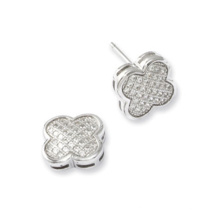 Sterling Silver Micro Pave Set CZ Clover Stud Earrings