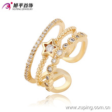 Fashion Elegant CZ Star 18k Gold-Plated Women Jewelry Ring -13667