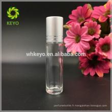 Rouleau de verre clair d'huile essentielle de 5ml 8ml 10ml sur la bouteille avec la boule d'acier inoxydable