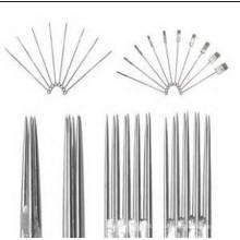 Precisão de aço inoxidável 316 texturizado agulhas de tatuagem para forro e Shader