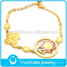 Custom Charm Bracelet 18 K Gold Plated Casting Sunflower Shaped Bracelets Jewelry