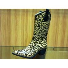 Winter Warm Durable Cowboy Leopard Half Rain Boots For Winter