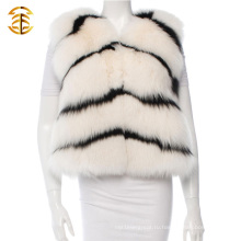 Женщины Fox Fur пальто Жилет Gilet Шаль Женщины Зимний Теплый кожаный куртка Женщины Fox Fur Gilets