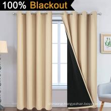 Beige 100% Blackout Curtains 84 Inch Long