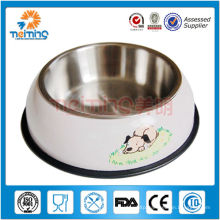 round rubber stainless steed dog bowl / feeder