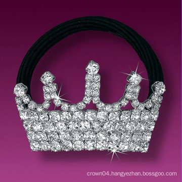 fashion metal silver plated crystal elastic crown hair band