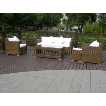 Conjunto de sofá de mimbre al aire libre