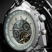 Steampunk Silver Dial Tourbillon Automatic Watch Big Case For Male