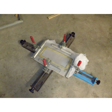 Simple manual silk screen stretching machine with screen printer business