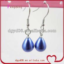 Moda azul lágrima gota perla pendiente al por mayor