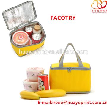 Saco de refrigerador não-tecido, saco de almoço quadrado, saco de almoço caixa de almoço