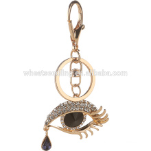 Customized metal Keyring crytal evil eye keychian cheap keychains in bulk