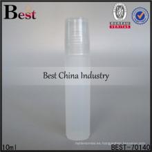 Rollo plástico 10ml en la botella de perfume para la venta, servicio del OEM de las botellas de los cosméticos, muestra libre
