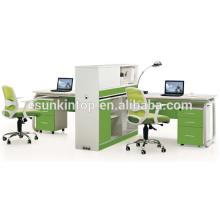 Büromöbelhersteller, Büroarbeitsplatte Möbel Perle weiß + Papagei grün, Bürotische Möbel Design (JO-5008-2A)