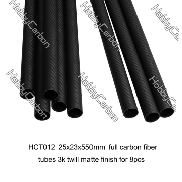 Tube en fibre de carbone 3k 25x23x550mm pour Octocopter