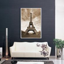 Vintage Torre Eiffel Lona de impresión de fotos con marco flotante