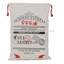 Juta Algodão Lona Santa Sack Drawstring Christmas Gift Bag