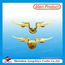 Shiny Gold Pilot Wings Metal Pin Badge Manufacturer