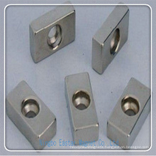 N50 Block Perment NdFeB Magnet with Fixing Hole