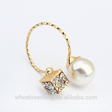 2015 atacado novo design pérola ouro chapeado anel