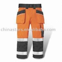 Laranja Alta visibilidade calças de segurança reflexiva