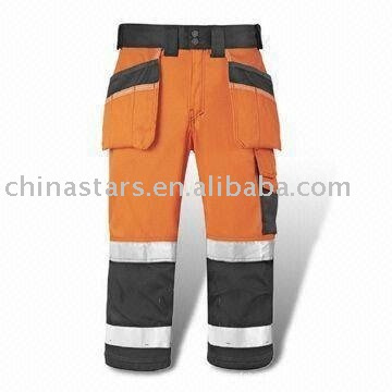 orange High visibility reflective safety pants