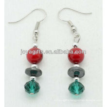 Wholesale red coral with green crystal ball earring